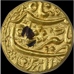 Extremely Rare Gold Mohur Coin of Jahangir of Burhanpur Mint of Bahman Month.
