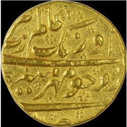 Gold Mohur Coin of Aurangzeb of Islamabad Mint.