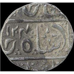Silver One Rupee Coin of Ahalya Bai Holkar of Malhar Nagar Mint of Indore State.
