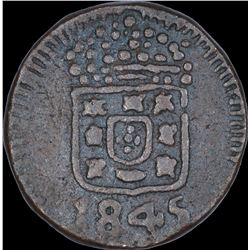 Copper Four and Half Reis Coin of Maria II of Goa of Indo Portuguese.