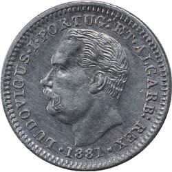 Silver Quarter Rupia Coin of Luiz I of India Portuguese.
