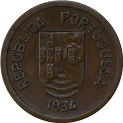 Bronze One Tanga Coin of Indo Portuguese.