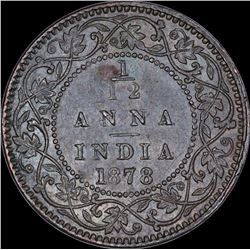 Copper One Twelfth Anna Coin of Victoria Empress of Calcutta Mint of 1878.