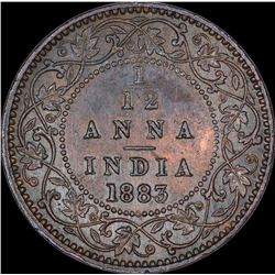 Copper One Twelfth Anna Coin of Victoria Empress of Calcutta Mint of 1883.