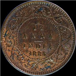 Copper One Twelfth Anna Coin of Victoria Empress of 1885.