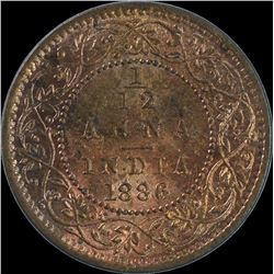 Copper One Twelfth Anna Coin of Victoria Empress of 1886.