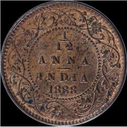 Copper One Twelfth Anna Coin of Victoria Empress of 1888.