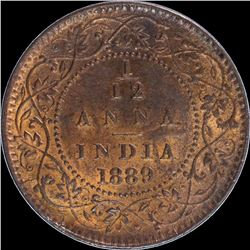 Copper One Twelfth Anna Coin of Victoria Empress of 1889.