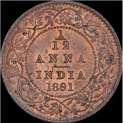 Copper One Twelfth Anna Coin of Victoria Empress of Calcutta Mint of 1891.
