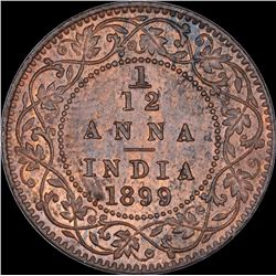 Copper One Twelfth Anna Coin of Victoria Empress of Calcutta Mint of 1899.