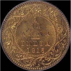 Bronze One Twelfth Anna coin of King George V of 1915.