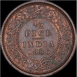 Copper Half Pice Coin of Victoria Empress of Calcutta Mint of 1886.