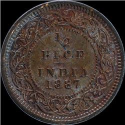 Copper Half Pice Coin of Victoria Empress of 1887.