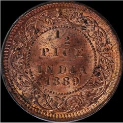Copper Half Pice Coin of Victoria Empress of 1889.