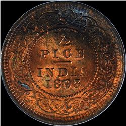 Copper Half Pice Coin of Victoria Empress of 1893.