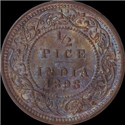 Copper Half Pice Coin of Victoria Empress of 1898.