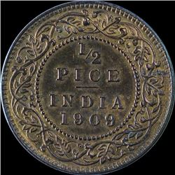 Bronze Half Pice Coin of King Edward VII of 1909.