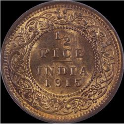 Bronze Half Pice Coin of King George V of 1915.