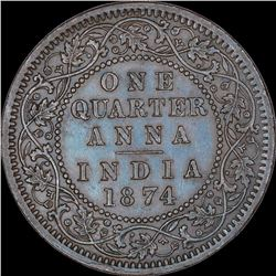 Copper One Quarter Anna Coin of Victoria Queen of Calcutta Mint of 1874.