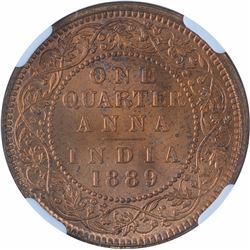 Copper One Quarter Anna Coin of Victoria Empress of Calcutta Mint of 1889