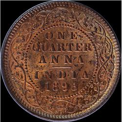 Copper One Quarter Anna Coin of Victoria Empress of Calcutta Mint of 1893