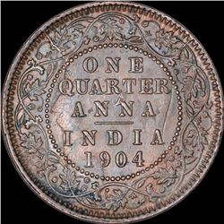 Copper One Quarter Anna Coin of King Edward VII of Calcutta Mint of 1904.