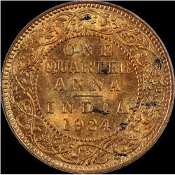 Copper One Quarter Anna Coin of King George V 1924.