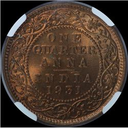 Copper One Quarter Anna Coin of King George V of 1931.