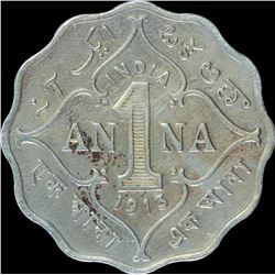 Cupro Nickel One Anna Coin of King George V of Bombay Mint of 1913.