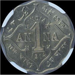 Copper Nickel One Anna Coin of King George V of Bombay Mint of 1914.
