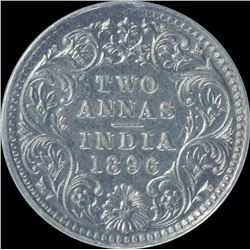 Silver Two Annas Coin of Victoria Empress of 1896.