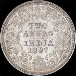 Silver Two Annas Coin of Victoria Empress of Bombay Mint of 1897.