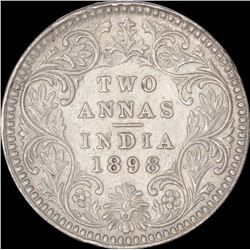 Silver Two Annas Coin of Victoria Empress of Calcutta Mint of 1898.
