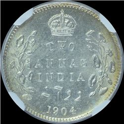 Silver Two Annas Coin of King Edward VII of 1904.