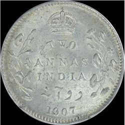 Silver Two Annas Coin of King Edward VII of 1907.