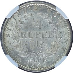 Silver One Quarter Rupee Coin of Victoria Queen of Bombay Mint of 1840.