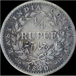 Silver Quarter Rupee Coin of Victoria Queen of 1840.