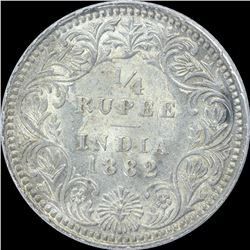 Silver One Quarter Rupee coin of Victoria Empress of 1882.