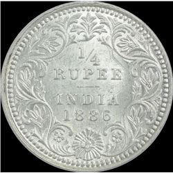 Silver One Quarter Rupee coin of Victoria Empress of 1886