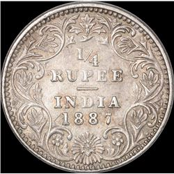 Silver Quarter Rupee Coin of Victoria Empress of Bombay Mint of 1887.
