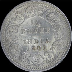 Silver Quarter Rupee of Victoria Empress of 1891.