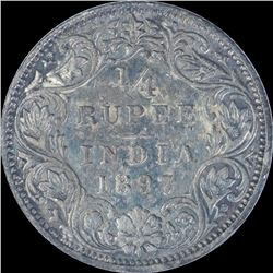 Silver One Quarter Rupee coin of Victoria Empress of 1897.
