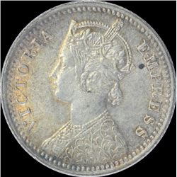 Silver One Quarter Rupee coin of Victoria Empress of 1898.