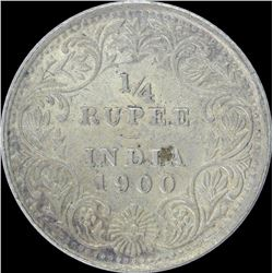 Silver One Quarter Rupee coin of Victoria Empress of 1900.