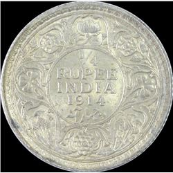 Silver Quarter Rupee Coin of King George V of Bombay Mint of 1914.