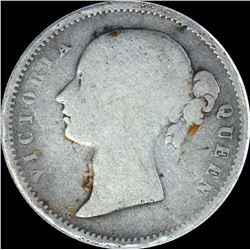 Silver Half Rupee Coin of Victoria Queen of 1840.