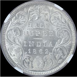 Silver Half Rupee Coin of Victoria Queen of 1862.