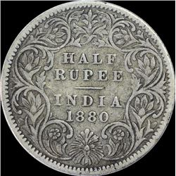 Silver Half Rupee Coin of Victoria Empress of 1880.