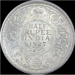 Silver Half Rupee Coin of King George V of 1927.