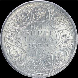 Silver Half Rupee Coin of King George VI of Calcutta Mint of 1939.